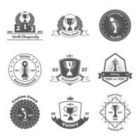 Trophy Awards Emblems Set Vector Illustration