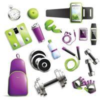 fitness gym set vector illustration