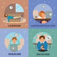 Procrastination Characters cartoon Concept Icons Vector Illustration