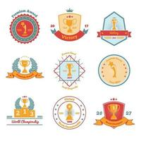 Trophy Awards Flat Emblems Set Vector Illustration