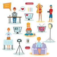 Bloggers Characters Flat Icons Set Vector Illustration