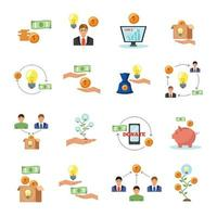 Crowdfunding Finance Flat Icons Collection Vector Illustration