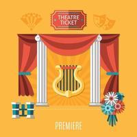 Orange Theatre Composition Vector Illustration