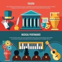 Theatre Horizontal Banner Set Vector Illustration