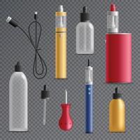 Ilustración de vector de colección de elementos de cigarrillo electrónico