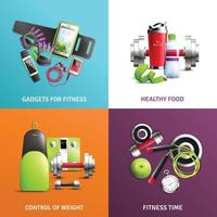 Fitness Gym Concept Icons Set Vector Illustration