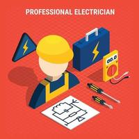 Red Electricity Isometric Composition Vector Illustration
