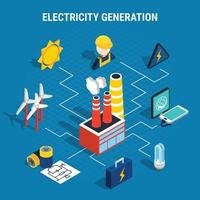 Isometric Electricity Composition Vector Illustration