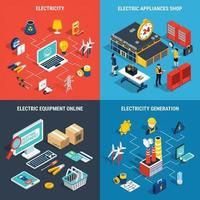 Electricity Isometric Concept Vector Illustration