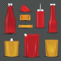 Sauce Bottles Packages Transparent Background Vector Illustration