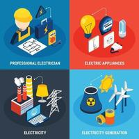 Electricity Isometric 3d Icon Set Vector Illustration