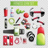 Ilustración de vector de conjunto transparente de gimnasio de fitness