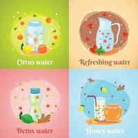 Detox Water 4 Flat Icons Vector Illustration
