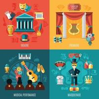 Theatre Icon Set Vector Illustration