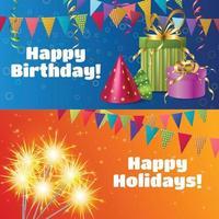 Ilustración de vector de banners de accesorios festivos realistas