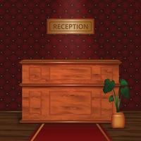 Reception Desk Hotel Interior Realistic Vector Illustration