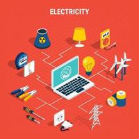 Electricity isometric chart composition Vector Illustration