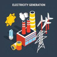 Electricity Isometric Colored Composition Vector Illustration