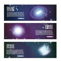 Space Horizontal Banners Set Vector Illustration