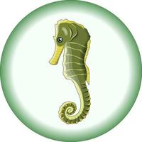 Vector composition of green seahorse on a round light green background