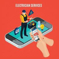 Electricity Isometric Red Composition Vector Illustration