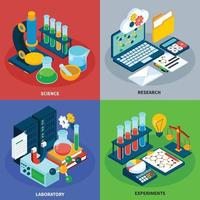 Science Isometric Concept Icons Set Vector Illustration