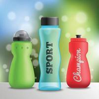Ilustración de vector de composición de botellas de atleta deportivo
