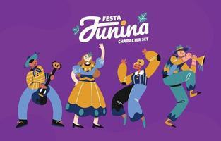conjunto de diseño de personajes de festa junina vector