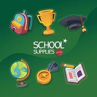 School Supplies Icon Set With Dashed Stroke vector