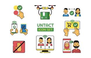 Untact Icon Set in New Normal Condition vector