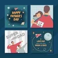 conjunto de tarjetas de felicitación del día del padre vector