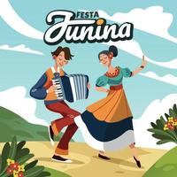 Playing Accordion And Dance Celebrating Festa Junina Festival Together vector