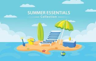 concepto de elementos de vacaciones de verano vector