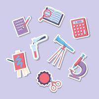School Activity Sticker Set vector