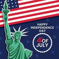 4th July Day With Liberty Statue vector