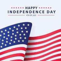 American Flag With Independence Day Text Concept vector