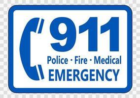 llamar al 911 firmar sobre fondo transparente vector