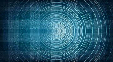 Abstract Circle Blue Digital Sound Wave technology and earthquake wave concept design vector