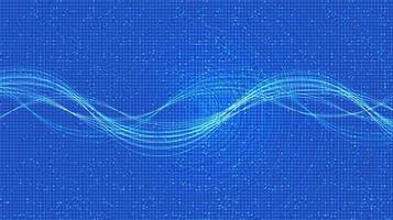 Electronic Sound wave with digital circle  Background vector