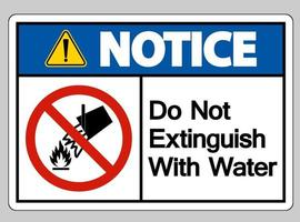 Notice Do Not Extinguish With Water Symbol Sign On White Background vector