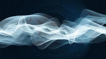 Onda de sonido digital de luz sobre tecnología de fondo de vibración de círculo azul y concepto de terremoto vector