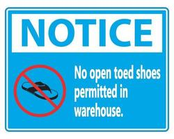 Notice No Open Toed Shoes Sign on white background vector