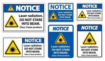 Notice Laser radiation do not stare into beam class 2 laser product Sign on white background vector