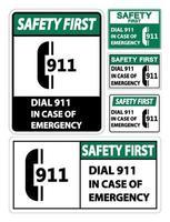 911 símbolo de la policía de rescate de incendios vector