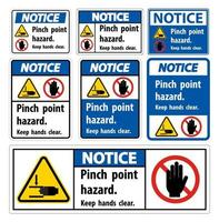 Notice Pinch Point Hazard Keep Hands Clear Symbol vector