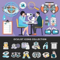 Oculist Test Banners Icons Vector Illustration