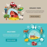 Farm Banner Set Vector Illustration