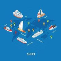 Ships Isometric Infographics Vector Illustration