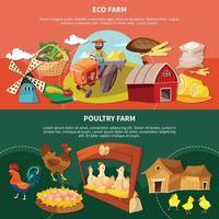 Two Farm Cartoon Banner Set Vector Illustration