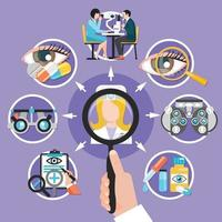 Oculist Icons Circle Composition Vector Illustration
